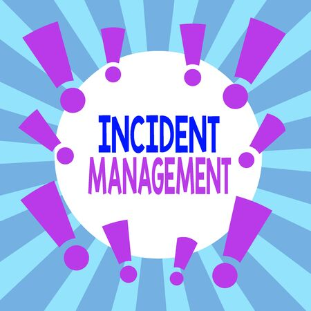Handwriting text Incident Management. Conceptual photo Activities of a company to identify and correct hazards Asymmetrical uneven shaped format pattern object outline multicolour design Stock Photo
