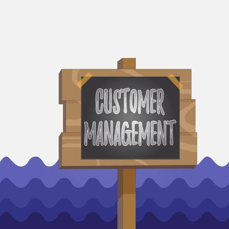 Conceptual hand writing showing Customer Management. Concept meaning customer retention and ultimately driving sales growth Wood plank wood stick pole paper note attached adhesive tape 版權商用圖片