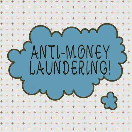 Word writing text Anti Money Laundering. Business photo showcasing regulations stop generating income through illegal actions Asymmetrical uneven shaped format pattern object outline multicolour design Stock Photo