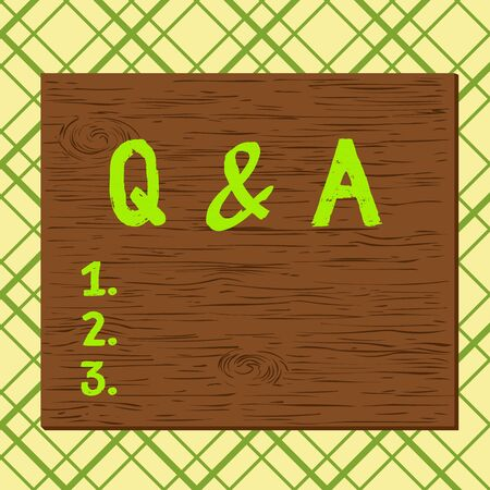 Handwriting text Q And A. Conceptual photo a period of time or an occasion when someone answers questions Square rectangle unreal cartoon wood wooden nailed stuck on coloured wall Stock Photo