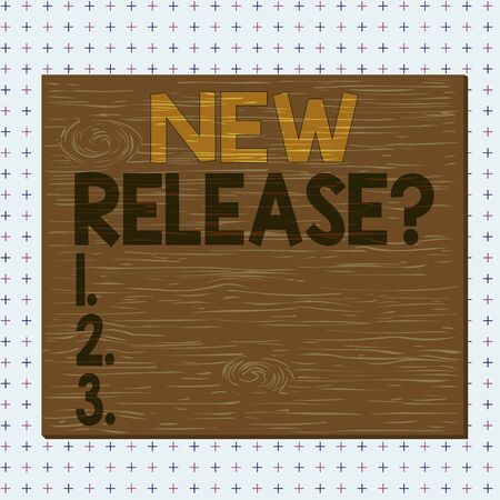 Word writing text New Release Question. Business photo showcasing asking about recent product or service newly unleashed Square rectangle unreal cartoon wood wooden nailed stuck on coloured wall