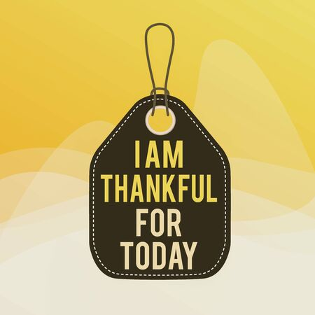 Conceptual hand writing showing I Am Thankful For Today. Concept meaning Grateful about living one more day Philosophy Empty tag colorful background label rectangle attach string