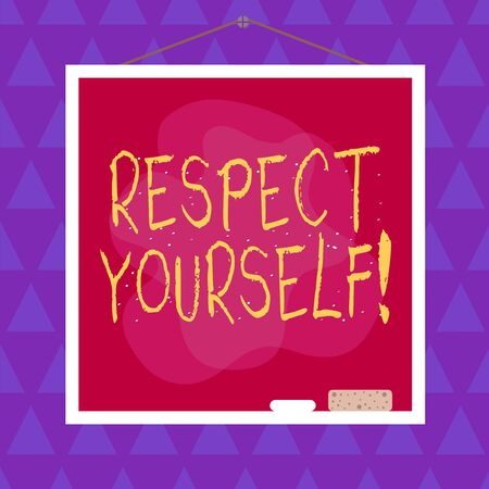Conceptual hand writing showing Respect Yourself. Concept meaning believing that you good and worthy being treated well Asymmetrical uneven shaped pattern object multicolour design
