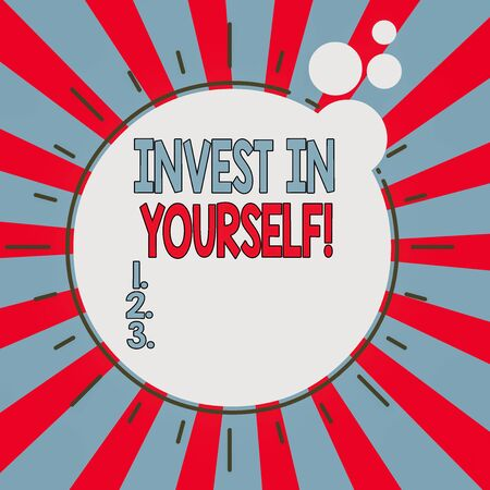 Word writing text Invest In Yourself. Business photo showcasing learn new things or materials thus making your lot better Asymmetrical uneven shaped format pattern object outline multicolour design