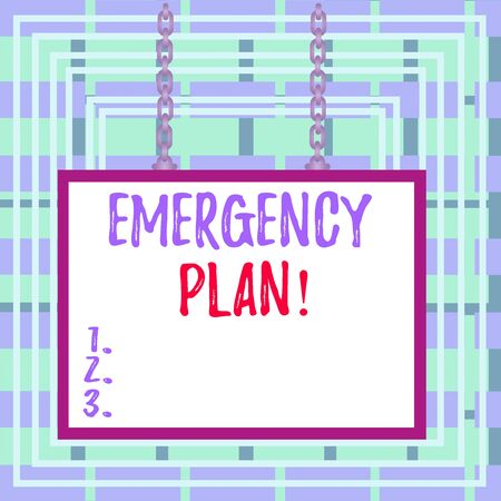 Text sign showing Emergency Plan. Business photo text actions developed to mitigate damage of potential events Whiteboard rectangle frame empty space attached surface chain blank panel Stock Photo