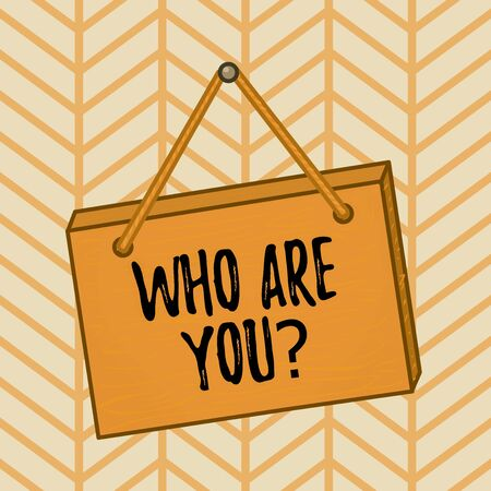 Word writing text Who Are You question. Business photo showcasing asking about demonstrating identity or information Square rectangle unreal cartoon wood wooden hang down on the coloured wall