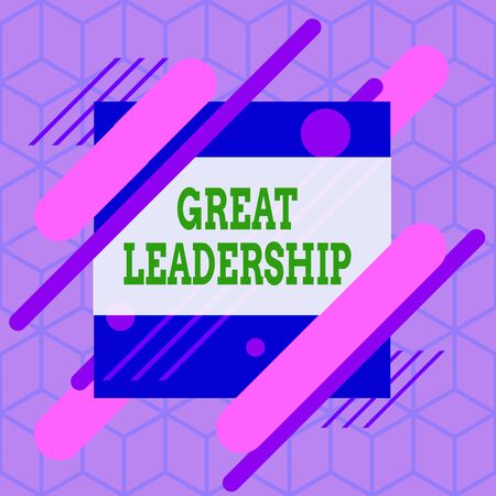 Writing note showing Great Leadership. Business concept for motivating showing to act towards achieving a common goal Asymmetrical format pattern object outline multicolor design