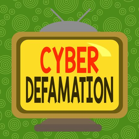 Conceptual hand writing showing Cyber Defamation. Concept meaning slander conducted via digital media usually by Internet Square rectangle unreal cartoon wood on the coloured wall