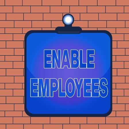 Text sign showing Enable Employees. Business photo text giving employees with the information they need to succeed Clipboard colorful background spring clip stuck bind empty plank frame