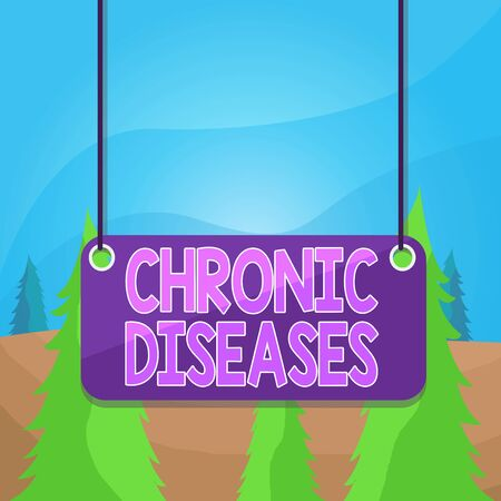 Word writing text Chronic Diseases. Business photo showcasing A disease or condition that lasts for longer time Board color background plank attached string panel rectangle empty surface Reklamní fotografie
