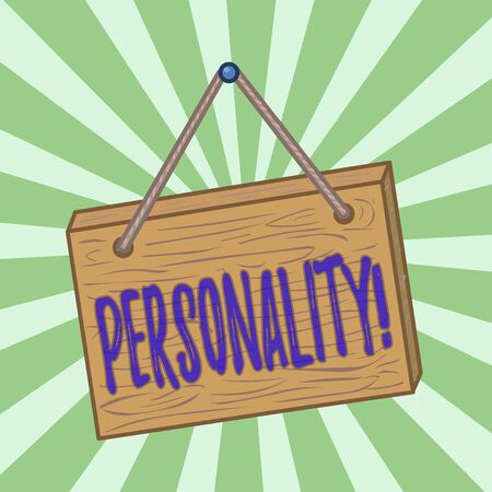 Handwriting text writing Personality. Conceptual photo combination characteristics that form individuals character Square rectangle unreal cartoon wood wooden hang down on the coloured wall