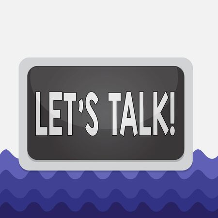 Conceptual hand writing showing Let S Talk. Concept meaning they are suggesting beginning conversation on specific topic Board rectangle white frame empty fixed color surface plank
