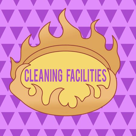 Text sign showing Cleaning Facilities. Business photo text Place or equipment provided for a cleaning purposes Asymmetrical uneven shaped format pattern object outline multicolour design Imagens