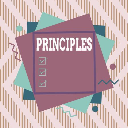 Word writing text Principles. Business photo showcasing fundamental truth that serves as the base for a system of belief Asymmetrical uneven shaped format pattern object outline multicolour design Banque d'images