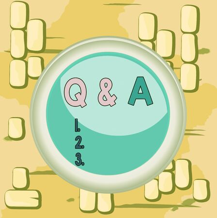 Word writing text Q And A Question. Business photo showcasing in which demonstrating asks questions and another one answers them Circle button colored sphere switch center background middle round shaped Banco de Imagens