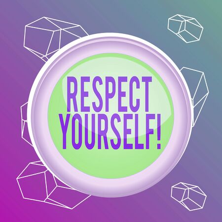 Word writing text Respect Yourself. Business photo showcasing believing that you good and worthy being treated well Circle button colored sphere switch center background middle round shaped