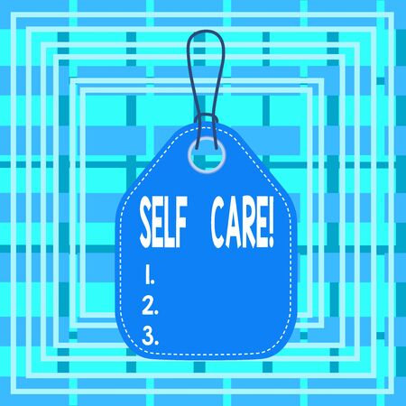 Text sign showing Self Care. Business photo text the practice of taking action to improve one s is own health Empty tag blank space colorful background label rectangle attached string