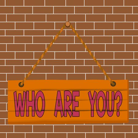 Text sign showing Who Are You Question. Business photo showcasing asking about someone identity or demonstratingal information Wood plank nail pin string board colorful background wooden panel fixed Reklamní fotografie