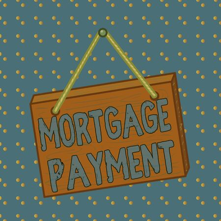 Conceptual hand writing showing Mortgage Payment. Concept meaning periodic amount paid to a holder for repayment of a loan Square rectangle unreal cartoon wood on the coloured wall Фото со стока