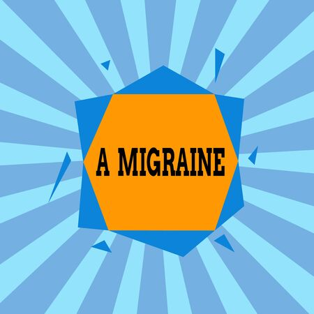 Text sign showing A Migraine. Business photo showcasing recurrent throbbing headache that affects one side of the head Asymmetrical uneven shaped format pattern object outline multicolour design Reklamní fotografie
