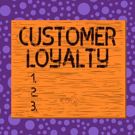 Writing note showing Customer Loyalty. Business concept for customers are devoted to a company s is products or services Square rectangle unreal cartoon wood on the coloured wall Imagens