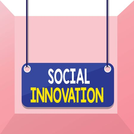 Conceptual hand writing showing Social Innovation. Concept meaning practices that aim to meet social needs in a better way Board color background plank attached string panel rectangle