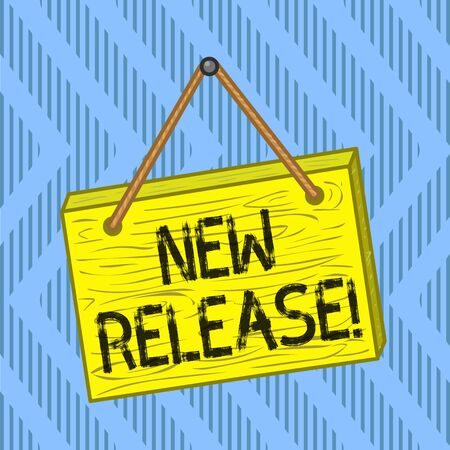 Word writing text New Release. Business photo showcasing announcing something newsworthy recent product Square rectangle unreal cartoon wood wooden hang down on the coloured wall