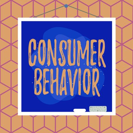 Conceptual hand writing showing Consumer Behavior. Concept meaning study of how individual customers interacts with the brand Asymmetrical uneven shaped pattern object multicolour design