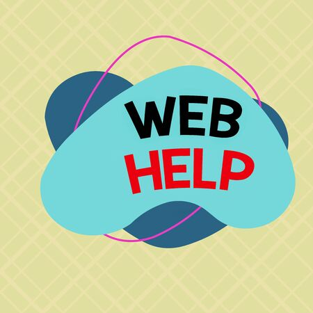 Writing note showing Web Help. Business concept for procedural or reference information delivered through computer Asymmetrical format pattern object outline multicolor design