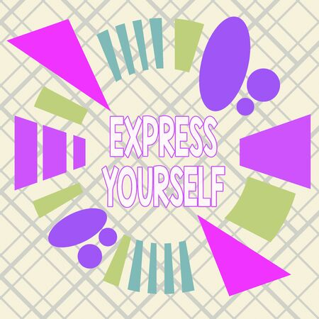 Writing note showing Express Yourself. Business concept for to communicate or reveal one s is thoughts or feelings Asymmetrical format pattern object outline multicolor design Stock fotó