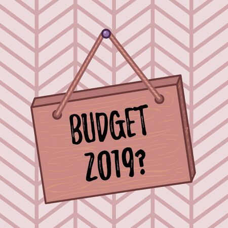Word writing text Budget 2019 Question. Business photo showcasing estimate of income and expenditure for next year Square rectangle unreal cartoon wood wooden hang down on the coloured wall