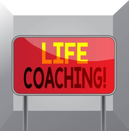 Conceptual hand writing showing Life Coaching. Concept meaning demonstrating employed to help showing attain their goals in career Metallic pole empty panel plank colorful backgound attached