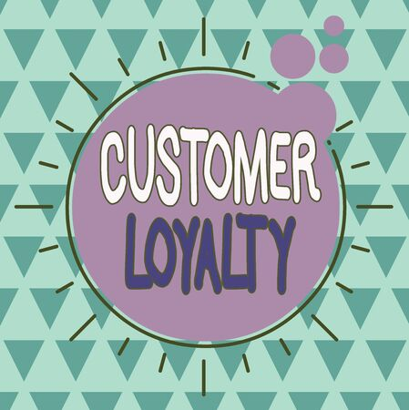 Text sign showing Customer Loyalty. Business photo showcasing customers are devoted to a company s is products or services Asymmetrical uneven shaped format pattern object outline multicolour design Foto de archivo