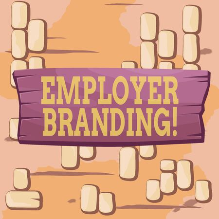 Word writing text Employer Branding. Business photo showcasing promoting company employer choice to desired target group Plank wooden board blank rectangle shaped wood attached color background Stock Photo