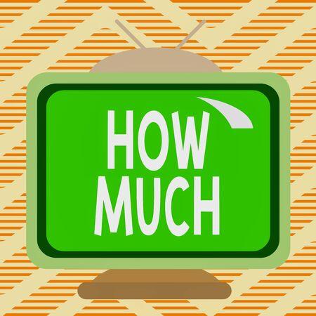 手書きテキストいくら。概念写真は何かの量やコストについて尋ねるどのような量または価格正方形の長方形古い多色絵画テレビ絵の木のデザイン