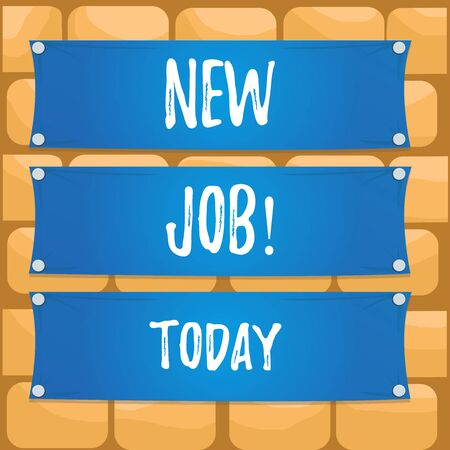 Handwriting text writing New Job. Conceptual photo recently having paid position of regular employment Wooden panel attached nail colorful background rectangle lumber plank wood
