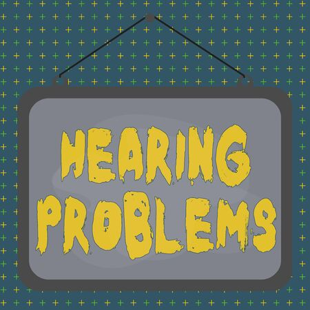 Text sign showing Hearing Problems. Business photo showcasing partial or total inability to hear Hearing impairment Asymmetrical uneven shaped format pattern object outline multicolour design Banco de Imagens