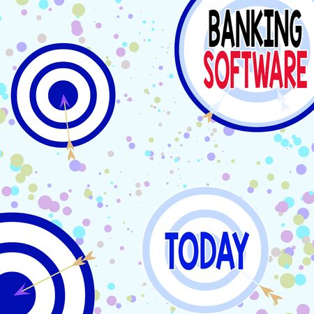 Handwriting text Banking Software. Conceptual photo typically refers to core banking software and interfaces Arrow and round target inside asymmetrical shaped object multicolour design Stock Photo