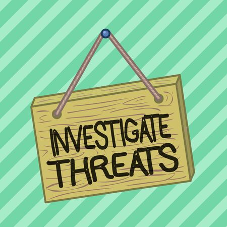 Text sign showing Investigate Threats. Business photo text carry out a systematic inquiry on potential danger Square rectangle unreal cartoon wood wooden hang down on the coloured wall