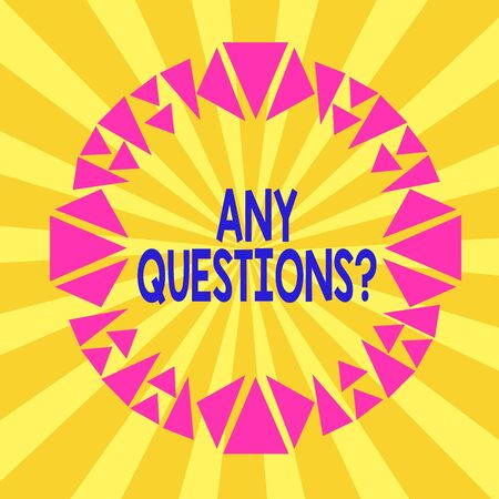 Writing note showing Any Questions Question. Business concept for you say write order to ask demonstrating about something Asymmetrical uneven shaped pattern object multicolour design