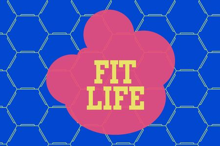 Word writing text Fit Life. Business photo showcasing maintaining a healthy weight with diet and exercise Healthy living Hexagonal figures design. Modern geometric background honeycombed pattern 版權商用圖片
