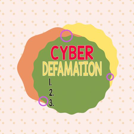 Writing note showing Cyber Defamation. Business concept for slander conducted via digital media usually by Internet Asymmetrical format pattern object outline multicolor design Stok Fotoğraf
