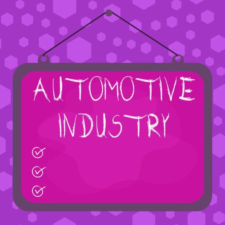 Writing note showing Automotive Industry. Business concept for organizations involved in the business of motor vehicles Asymmetrical uneven shaped pattern object multicolour design Banque d'images
