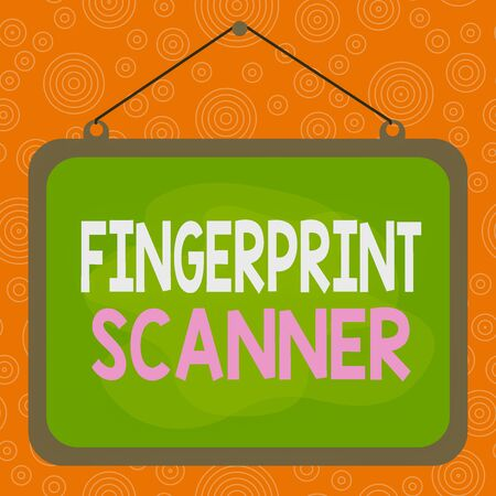 Handwriting text writing Fingerprint Scanner. Conceptual photo Use fingerprint for biometric validation to grant access Asymmetrical uneven shaped format pattern object outline multicolour design