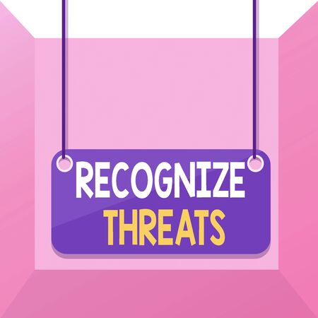 Conceptual hand writing showing Recognize Threats. Concept meaning potential to cause serious harm to a computer system Board color background plank attached string panel rectangle 写真素材