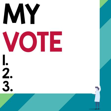 Handwriting text My Vote. Conceptual photo the act of showing your choice or opinion in an election or meeting Front view young woman holding two hands right corner big blank rectangle