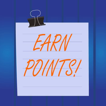 Writing note showing Earn Points. Business concept for collecting scores in order qualify to win big prize Paper lines binder clip suare notebook color background Stock Photo