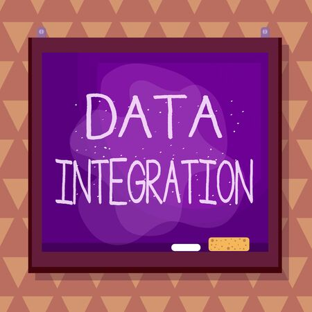 Text sign showing Data Integration. Business photo text involves combining data residing in different sources Asymmetrical uneven shaped format pattern object outline multicolour design