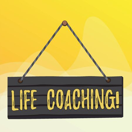 Writing note showing Life Coaching. Business concept for demonstrating employed to help showing attain their goals in career Wood plank nail pin string board colorful background wooden panel fixed