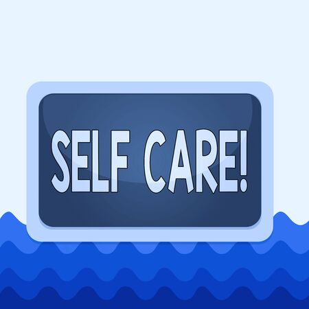 Conceptual hand writing showing Self Care. Concept meaning practice of taking action to preserve or improve ones own health Board rectangle white frame empty fixed color surface plank Standard-Bild